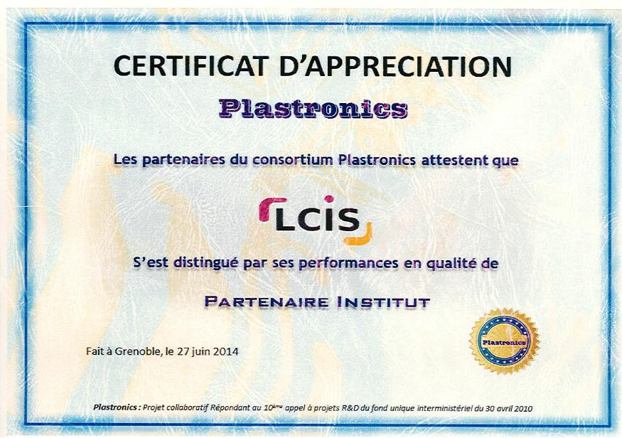 Certificat d'Appreciation